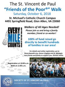 St. Vincent de Paul Friends of the Poor Walk:  Sat Oct. 6